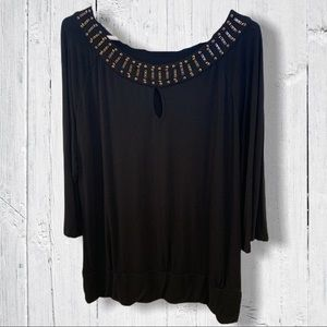 Blouse with Beaded Neckline